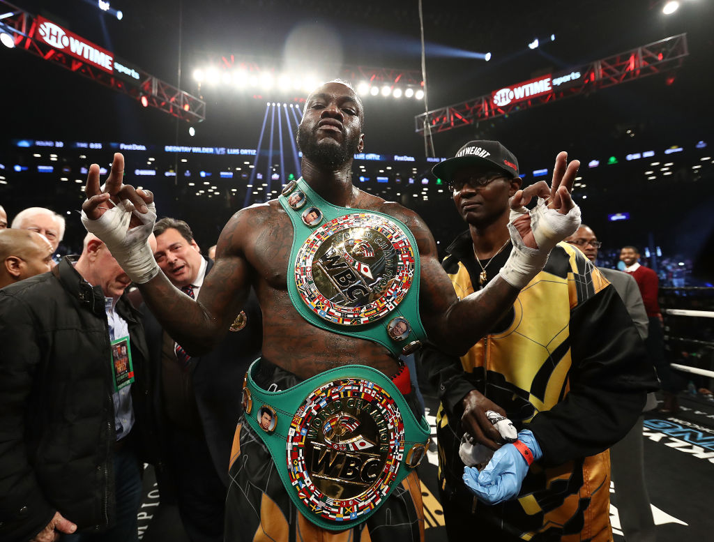 Deontay Wilder poses after knocking out  Luis Ortiz in the tenth round of their WBC Heavyweight Championship fight at Barclays Center on March 3, 2018 in the Brooklyn Borough of New York City.  (Photo by Al Bello/Getty Images)