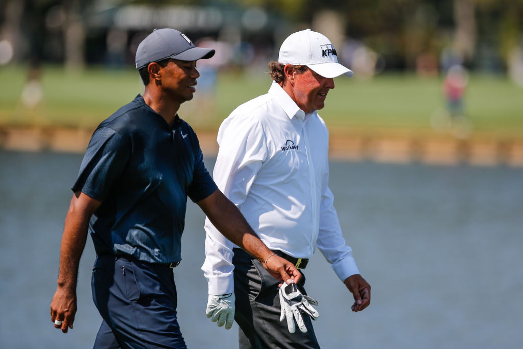 PONTE VEDRA BEACH, FL - MAY 11: Tiger Woods and Phil Mickelson walk the fairway together during THE PLAYERS Championship on May 11, 2018 at TPC Sawgrass in Ponte Vedra Beach, Fl.  (Photo by David Rosenblum/Icon Sportswire via Getty Images)
