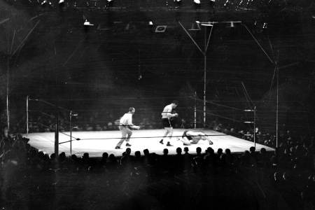 Joe Louis vs Max Schmeling., Both hands on the canvas, Max tries to get his bearings. No dice. He was back in his native Germany as far as last night's fight was concerned. Joe's terrific punching was too much.  (NY Daily News Archive via Getty Images)