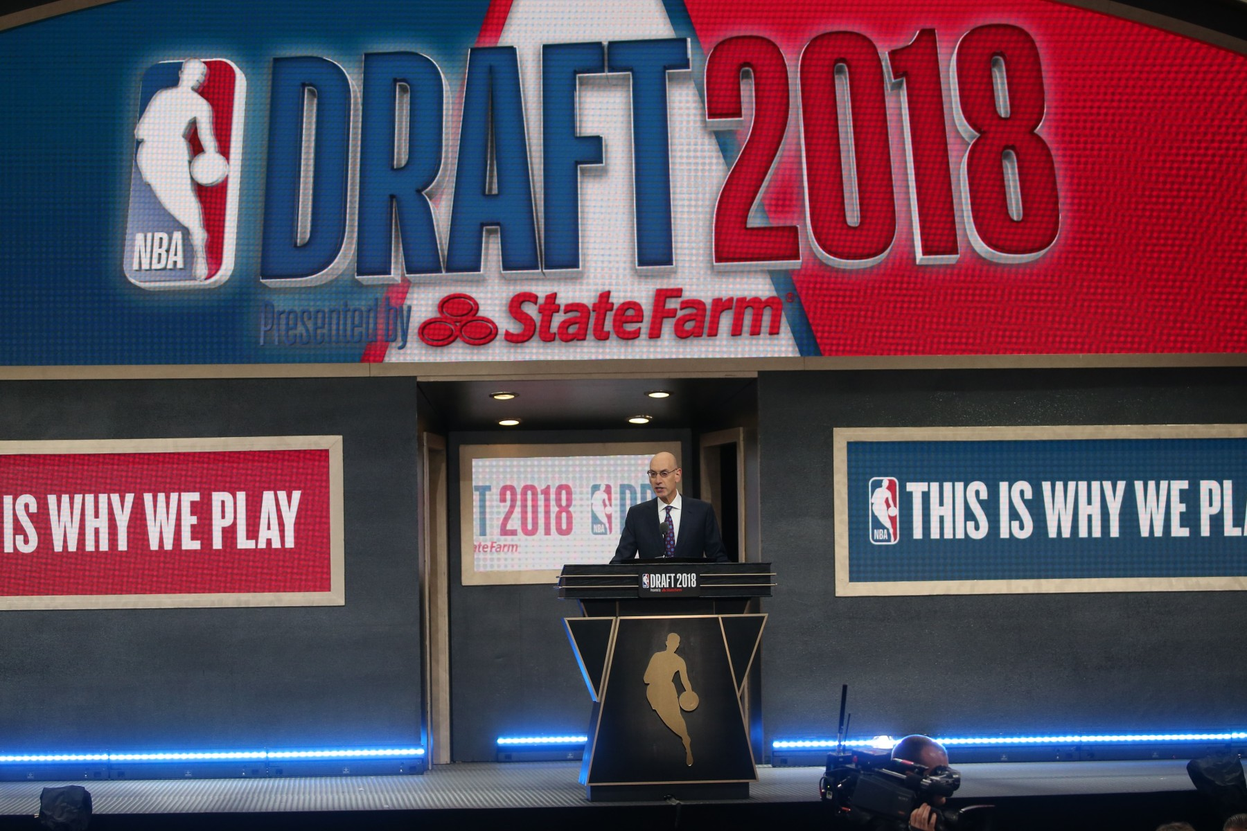 NBA Commissioner Adam Silver speaks ahead of the 2018 NBA Draft at the Barclays Center on June 21, 2018 in the Brooklyn borough of New York, United States.  (Mohammed Elshamy/Anadolu Agency/Getty Images)