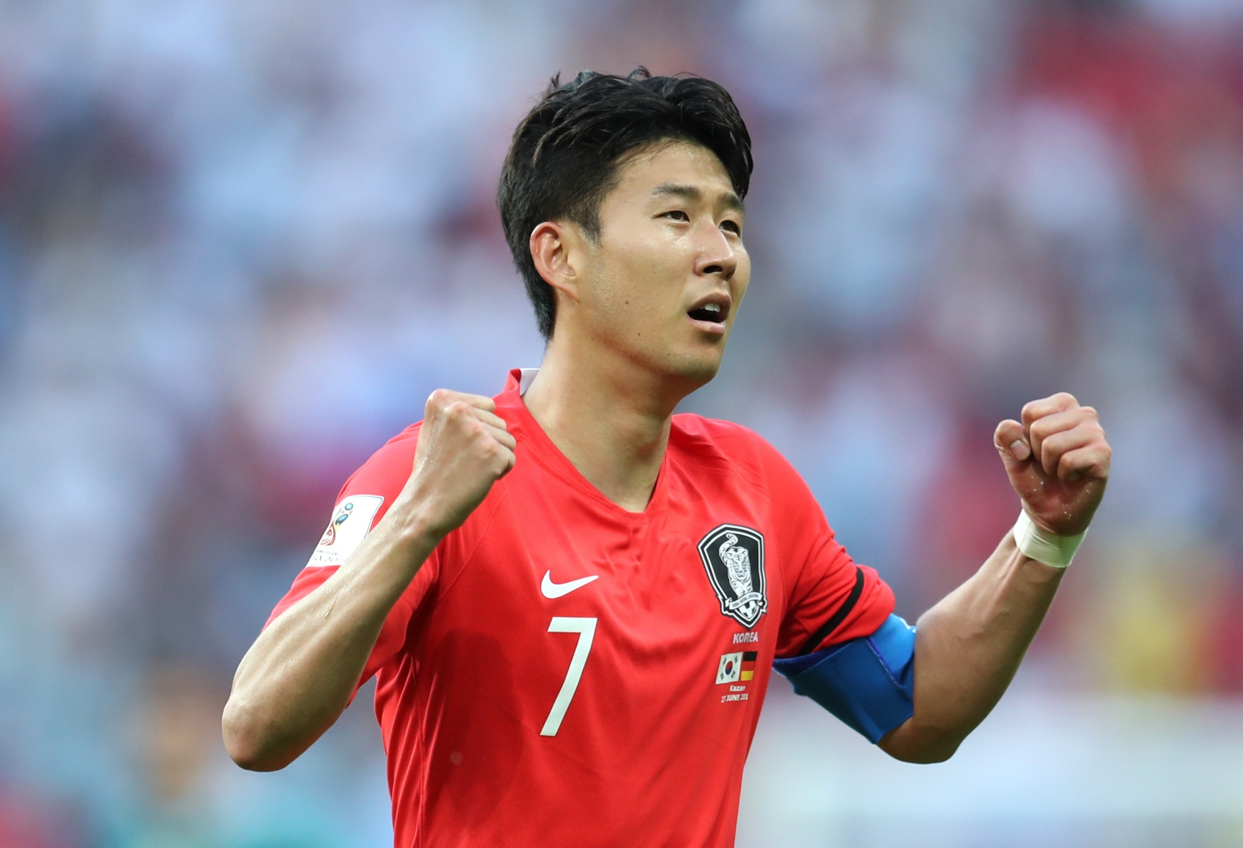 Son Heung-min of Korea Republic celebrates following the 2018 FIFA World Cup Russia group F match between Korea Republic and Germany at Kazan Arena on June 27, 2018 in Kazan, Russia.  (Catherine Ivill/Getty Images)