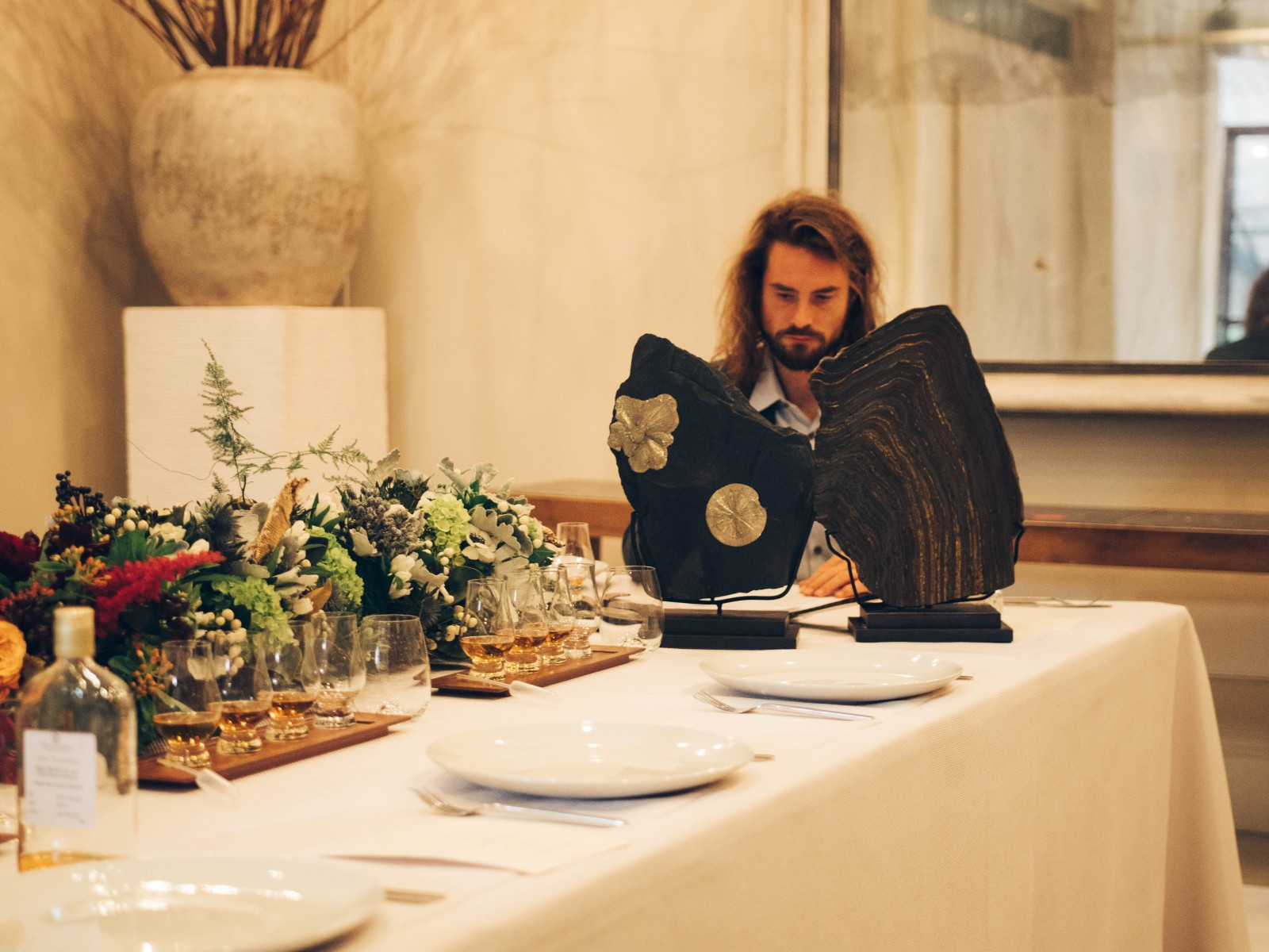 20-million-year-old fossils and Barnabé Fillion at the Royal Salute Whisky pairing dinner (Royal Salute Whisky)