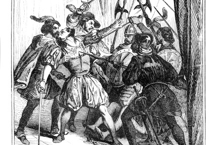 Steel engraving of Conquistador Francisco Pizarro killed in Lima, on 26 June 1541 (Getty)