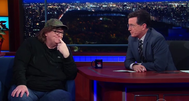 Filmmaker Michael Moore appears on Stephen Colbert's 'Late Show.' (YouTube)