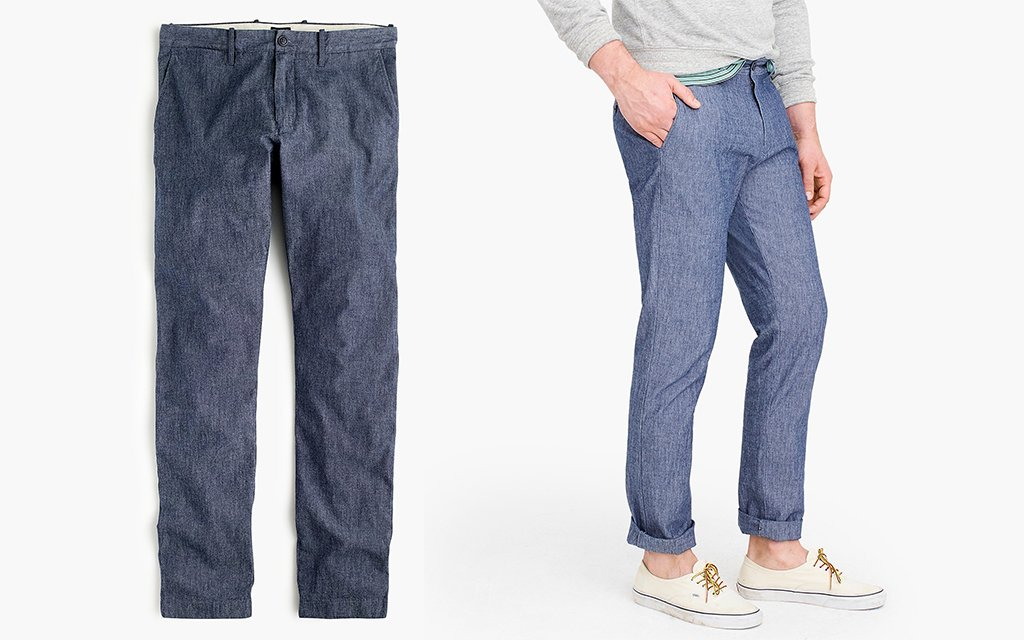 J-Crew Straight-Fit Chino in Chambray