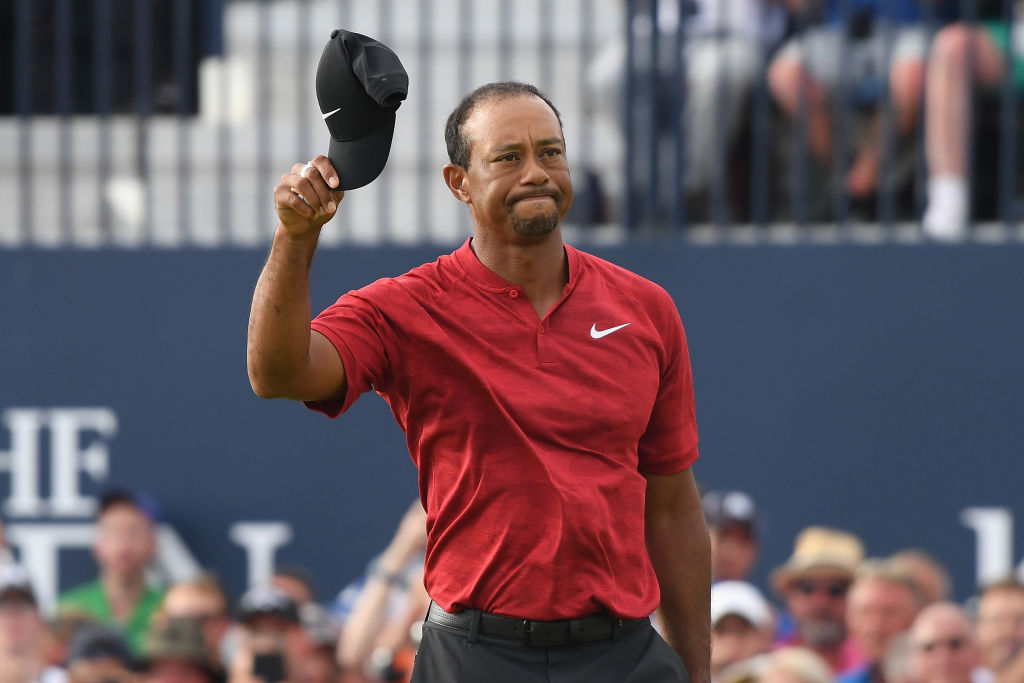 Tiger Woods of the United States acknowledges the crowd on the 18th green during the final round of the 147th Open Championship at Carnoustie Golf Club on July 22, 2018 in Carnoustie, Scotland. (Photo by Harry How/Getty Images)