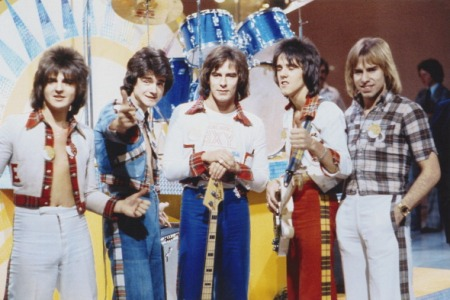 Scottish pop group the Bay City Rollers, circa 1975. Left to right: Eric Faulkner, Les McKeown, Alan Longmuir, Stuart 'Woody' Wood and Derek Longmuir. (Michael Ochs Archives /Getty Images)