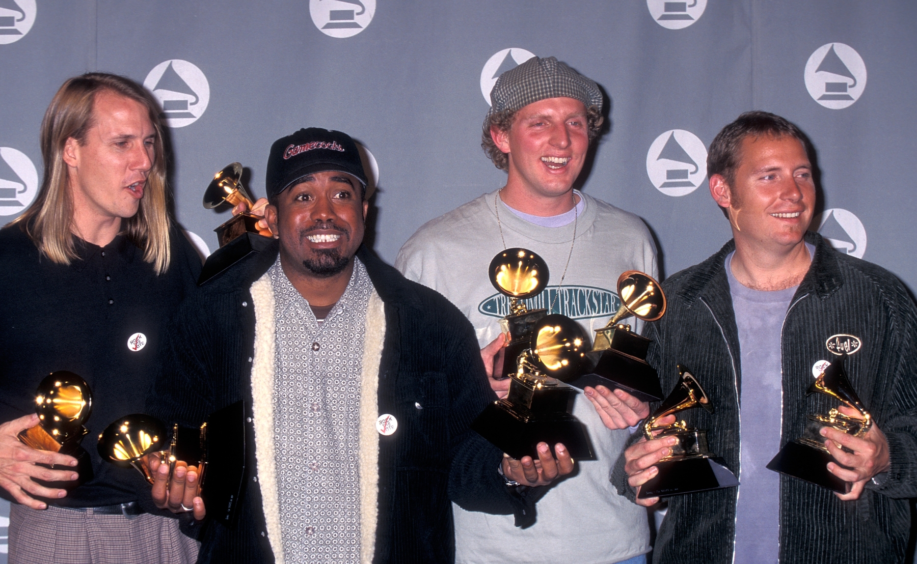 Rock band Hootie & the Blowfish attends the 38th Annual Grammy Awards on February 28, 1996 at the Shrine Auditorium in Los Angeles. (Ron Galella, Ltd./WireImage)