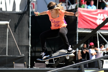Leticia Bufoni skates to a first place finish in the Women's Skateboard Street final at the X Games in Los Angeles, California on August 1, 2013. (AFP/Frederic J. BROWN/AFP/Getty Images)
