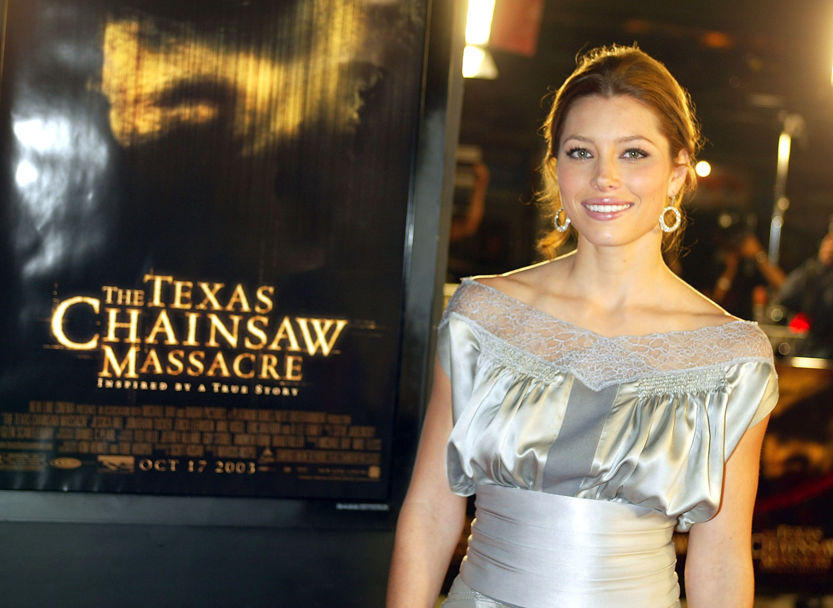 "Actress Jessica Biel arrives at the premiere of ""The Texas Chainsaw Massacre"" at the Chinese Theatre on October 15, 2003 in Los Angeles. (Kevin Winter/Getty Images)"