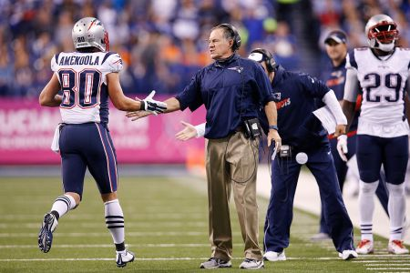 Head coach Bill Belichick of the New England Patriots congratulates Danny Amendola #80 after a touchdown against the Indianapolis Colts in the second quarter of the game at Lucas Oil Stadium on October 18, 2015 in Indianapolis, Indiana. (Photo by Joe Robbins/Getty Images)