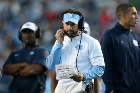 UNC head coach Larry Fedora. The University of North Carolina Tar Heels hosted the The Citadel, The Military College of South Carolina Bulldogs on November 19, 2016, at Kenan Memorial Stadium in Chapel Hill, NC in a 2016 NCAA Division I College Football game. UNC won the game 41-7. (Photo by Andy Mead/YCJ/Icon Sportswire via Getty Images)
