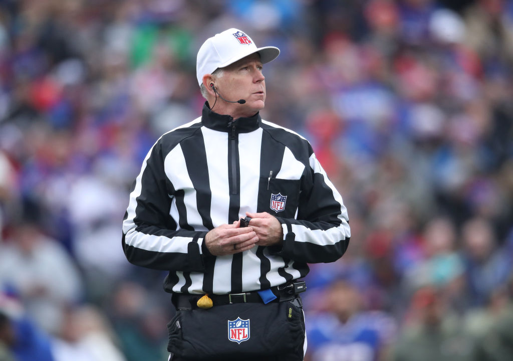 NFL referee Terry McAulay #77 looks on during the Buffalo Bills NFL game against the New Orleans Saints at New Era Field on November 12, 2017 in Buffalo, New York. (Photo by Tom Szczerbowski/Getty Images)