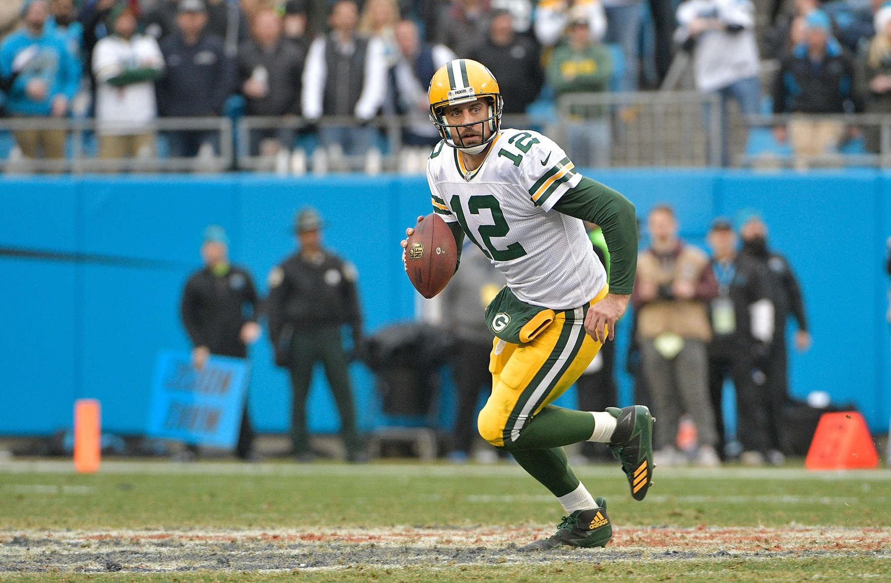 Aaron Rodgers #12 of the Green Bay Packers during their game against the Carolina Panthers at Bank of America Stadium on December 17, 2017 in Charlotte, North Carolina. The Panthers won 31-24.  (Photo by Grant Halverson/Getty Images)