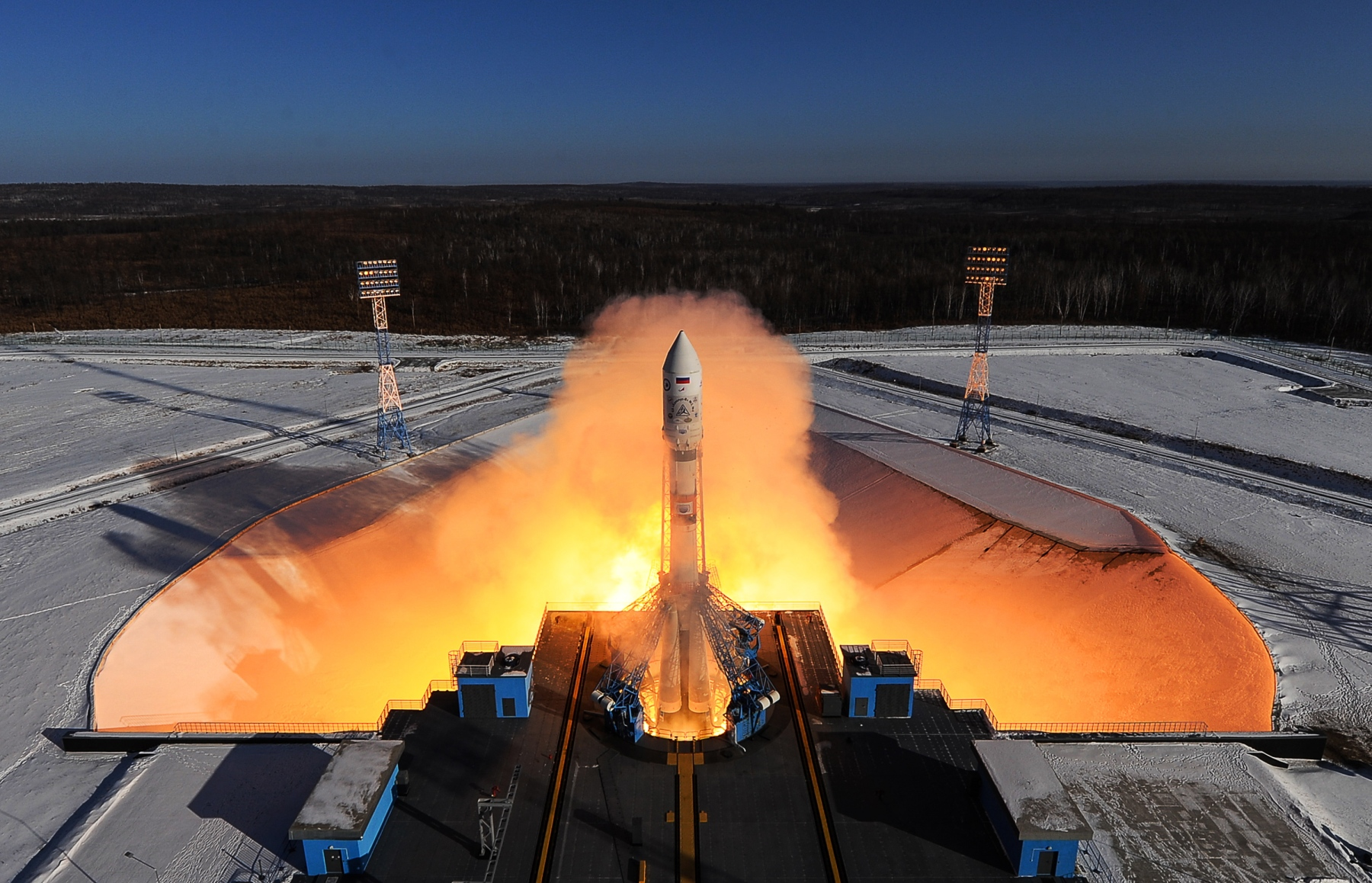 A Soyuz 2.1a rocket booster with a Frigate upper stage block launched from the Vostochny Cosmodrome. The Soyuz 2.1.a rocket booster is to deliver Russian Kanopus-V No3 and No4 remote sensing satellites and 9 small satellites to orbit. Donat Sorokin/TASS (Donat SorokinTASS via Getty Images)