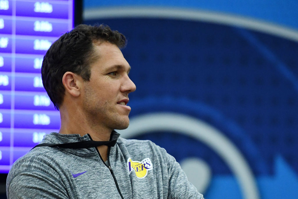 e3e975fd957 Head coach Luke Walton of the Los Angeles Lakers watches action during Day  One of the