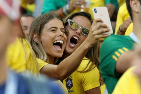 Carolina Cabrino, wife of Marquinhos of Brazil and Izabel Goulart, Brazilian top model (girlfriend of goalkeeper of Germany Kevin Trapp) during the 2018 FIFA World Cup Russia group E match between Serbia and Brazil at Spartak Stadium on June 27, 2018 in Moscow, Russia. (Jean Catuffe/Getty Images)