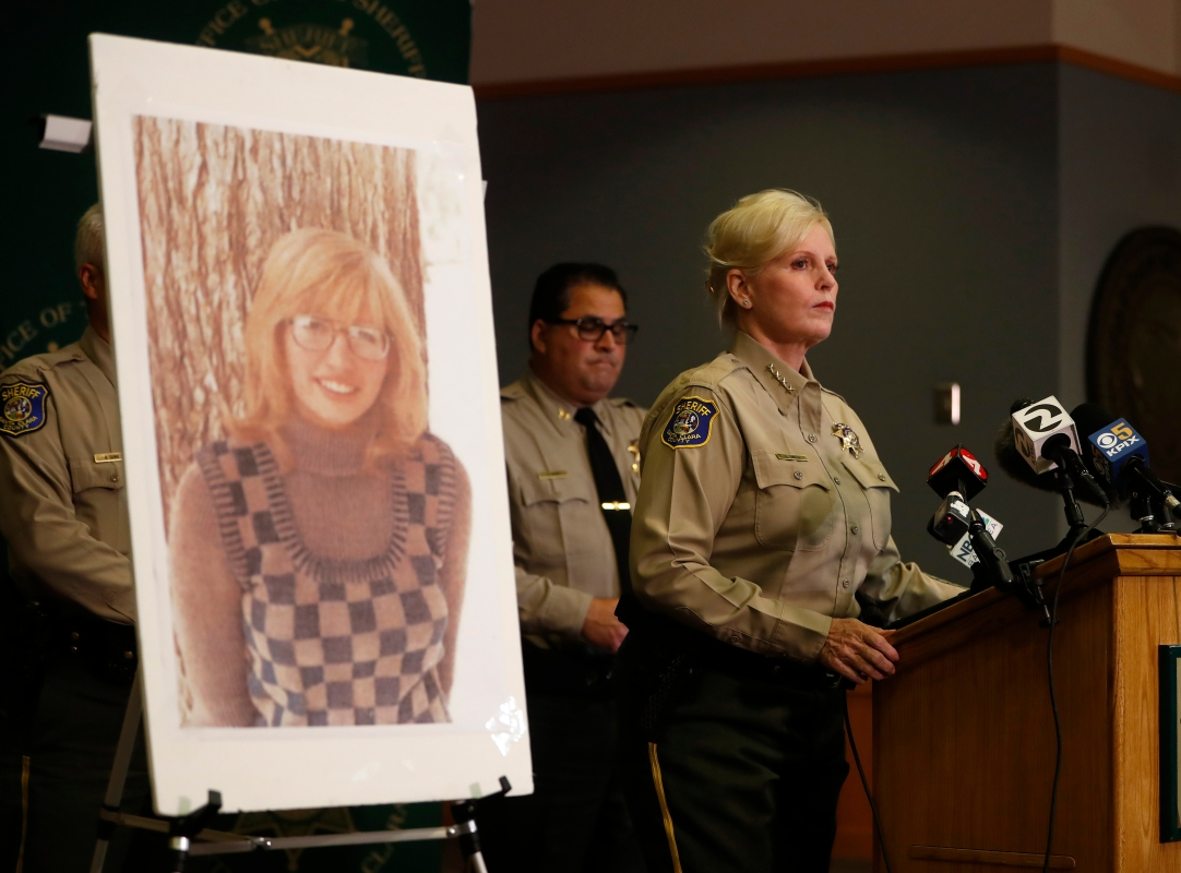 Santa Clara County Sheriff Laurie Smith speaks to the media about the 1974 killing of Arlis Perry, photograph at left, at the Sheriff's office in San Jose, Calif., on Thursday, June 28, 2018.