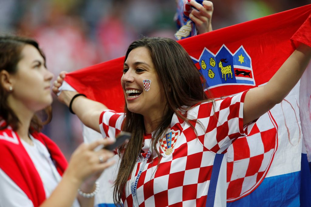 Female soccer fans of Croatia are seen before the 2018 FIFA World Cup Russia semi final match between Croatia and England at the Luzhniki Stadium in Moscow, Russia, on July 11, 2018.  (Photo by Sefa Karacan/Anadolu Agency/Getty Images)