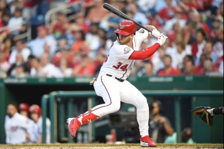 Bryce Harper #34 of the Washington Nationals prepares for a pitch during a baseball game against the Miami Marlins at Nationals Park on July 5, 2018 in Washington, DC.  The Nationals won 14-12.  (Photo by Mitchell Layton/Getty Images)