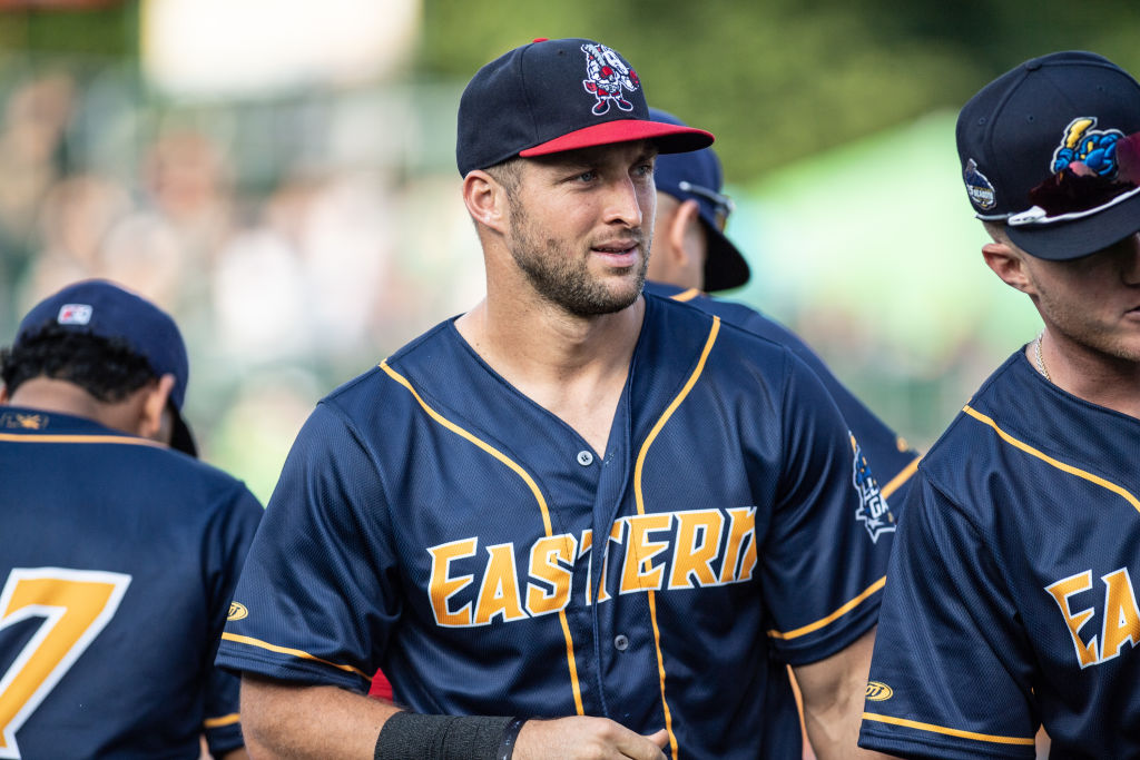 Tim Tebow #15 of the Eastern Division All-Stars in action during the 2018 Eastern League All Star Game at Arm & Hammer Park on July 11, 2018 in Trenton, New Jersey. (Photo by Mark Brown/Getty Images)