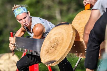 Lumberjill Martha King during a competition. (LWC)