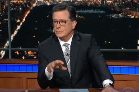 Stephen Colbert ditched the desk for a tub on Monday.
