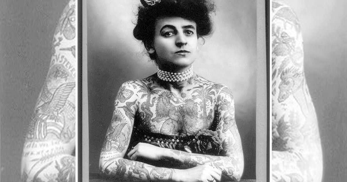 Mrs. M. Stevens Wagner, half length portrait, facing slightly right, arms and chest covered with tattoos (Library of Congress)