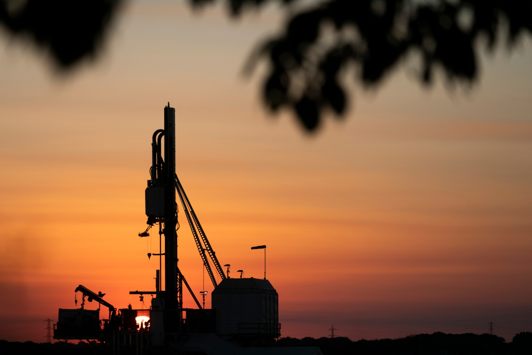 Sunset in New Preston Road, Cuadrilla's highly contested  fracking site in Lancashire. The drilling is almost done and Cuadrilla is almost ready to extract the shale gas. Fracking is a highly controversial way of extracting fossil fuels. (photo by Kristian Buus/In Pictures via Getty Images)