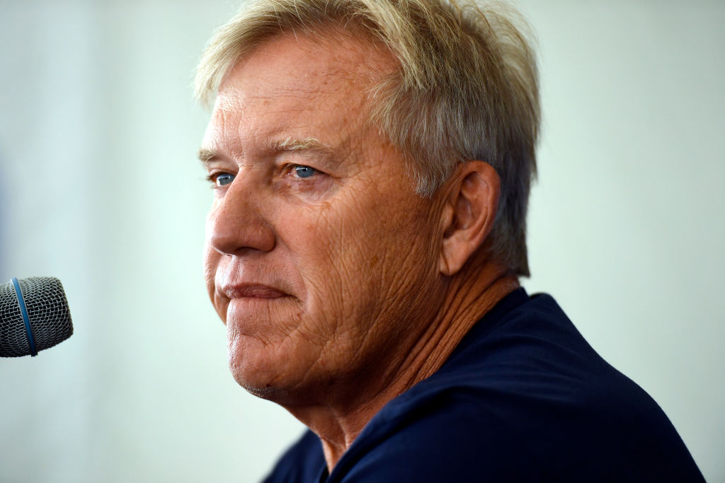 ENGLEWOOD, CO - JULY 27: John Elway President of Football Operations/General Manager speaks during the Broncos annual media BBQ at the training facility July 27, 2018 in Englewood, Colorado. (Photo by Joe Amon/The Denver Post via Getty Images)