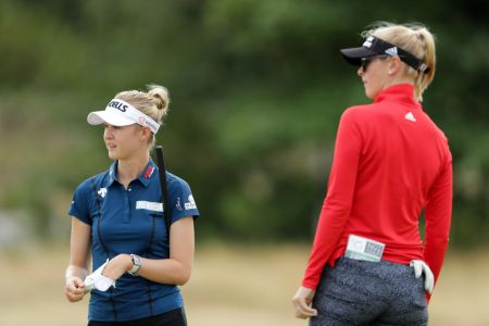 LYTHAM ST ANNES, ENGLAND - AUGUST 01:  Jessica Korda of the United States and Nelly Korda of the United States looks on during a pro-am round ahead of the Ricoh Women's British Open at Royal Lytham & St. Annes on August 1, 2018 in Lytham St Annes, England.  (Photo by Richard Heathcote/Getty Images)