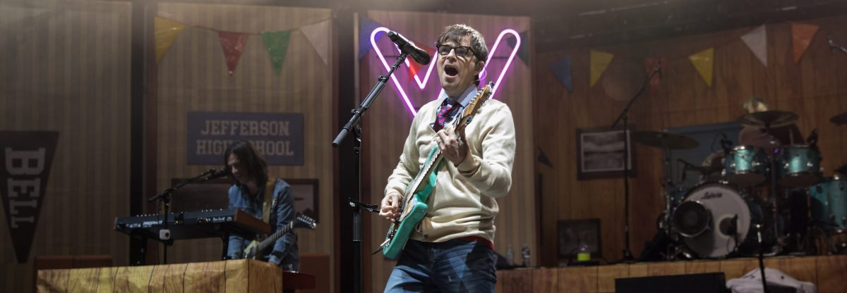 Vocalist Rivers Cuomo of Weezer performs at Shoreline Amphitheatre on August 7, 2018 in Mountain View, California.  (Photo by Miikka Skaffari/Getty Images)