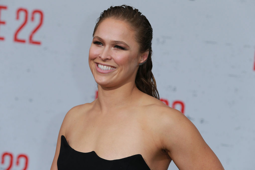 """WESTWOOD, CA - AUGUST 09:  Ronda Rousey attends the Premiere Of STX Films' """"Mile 22"""" at Westwood Village Theatre on August 9, 2018 in Westwood, California.  (Photo by Leon Bennett/Getty Images)"""