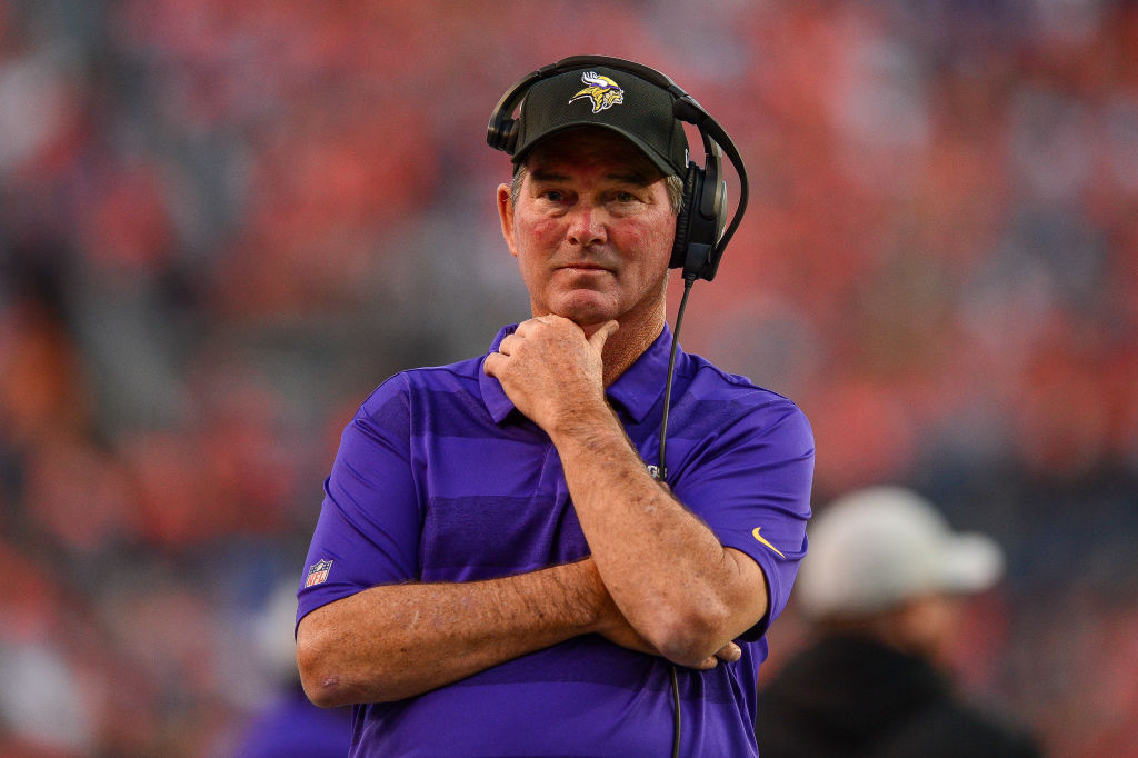 DENVER, CO - AUGUST 11:  Head coach Mike Zimmer of the Minnesota Vikings stands on the sideline during an NFL preseason game against the Denver Broncos at Broncos Stadium at Mile High on August 11, 2018 in Denver, Colorado. (Photo by Dustin Bradford/Getty Images)