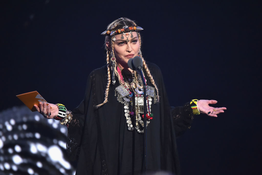 Madonna speaks onstage during the 2018 MTV Video Music Awards at Radio City Music Hall on August 20, 2018 in New York City.  (Photo by Kevin Mazur/WireImage)