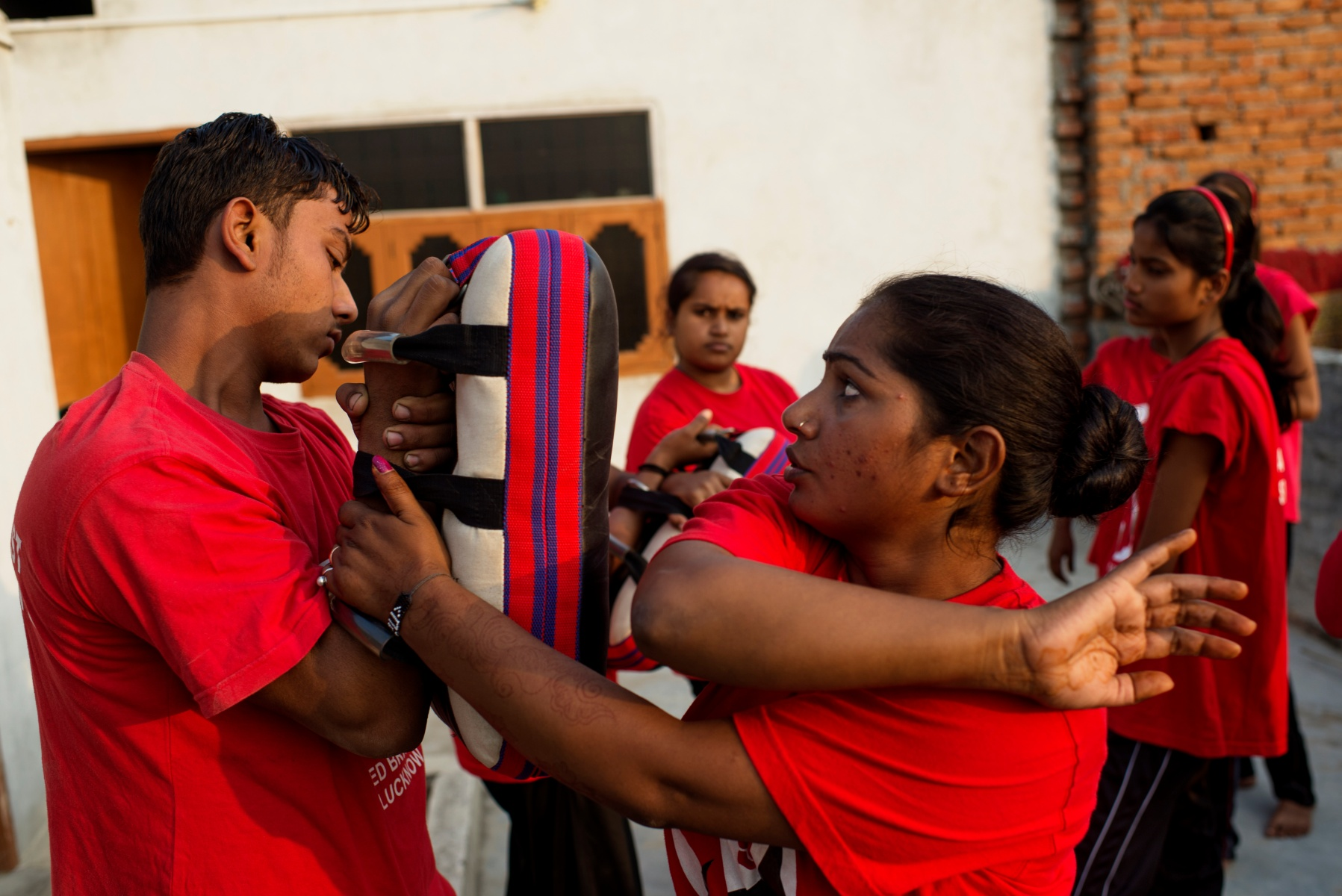 Usha, the 26 year old leader of the grassroots Red Brigade, teaches the art of self-defense to other members of the Red Brigade.  (Jonas Gratzer/LightRocket via Getty Images)