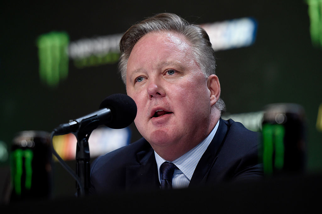 LAS VEGAS, NV - DECEMBER 01:  Brian France, NASCAR Chairman and CEO, speaks during a press conference as NASCAR and Monster Energy announce premier series entitlement partnership at Wynn Las Vegas on December 1, 2016 in Las Vegas, Nevada. (Photo by David Becker/Getty Images)