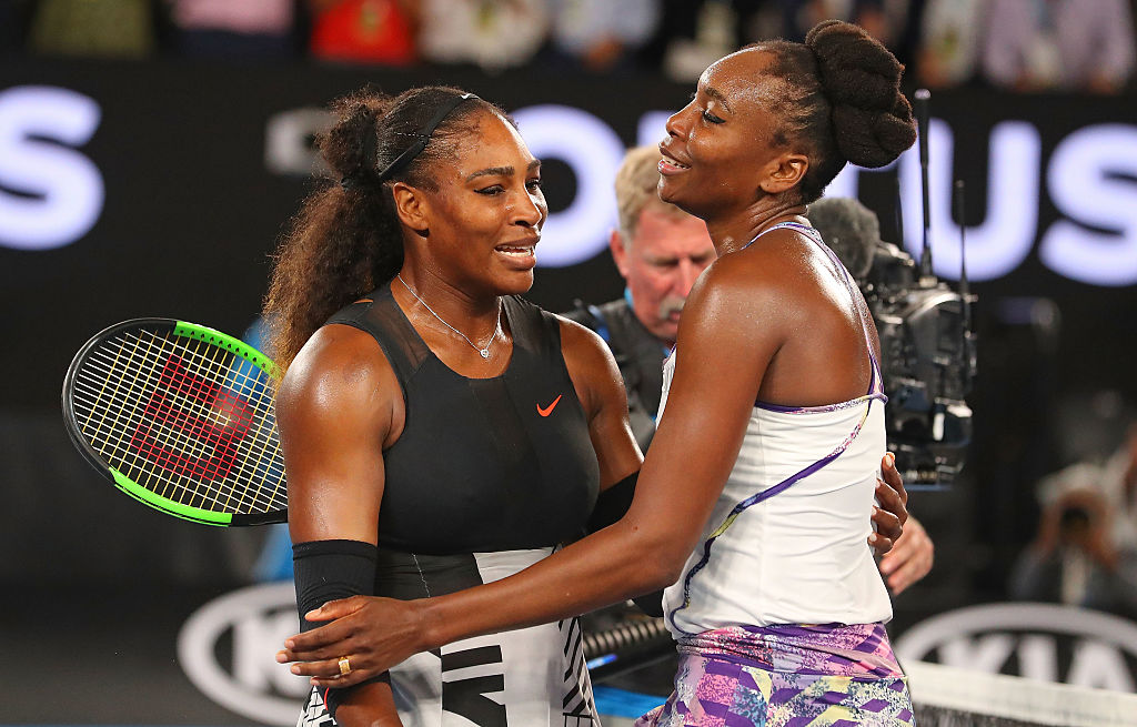 MELBOURNE, AUSTRALIA - JANUARY 28:  Serena Williams of the United States is congratulated by Venus Williams of the United States after winning the Women's Singles Final match against on day 13 of the 2017 Australian Open at Melbourne Park on January 28, 2017 in Melbourne, Australia.  (Photo by Scott Barbour/Getty Images)