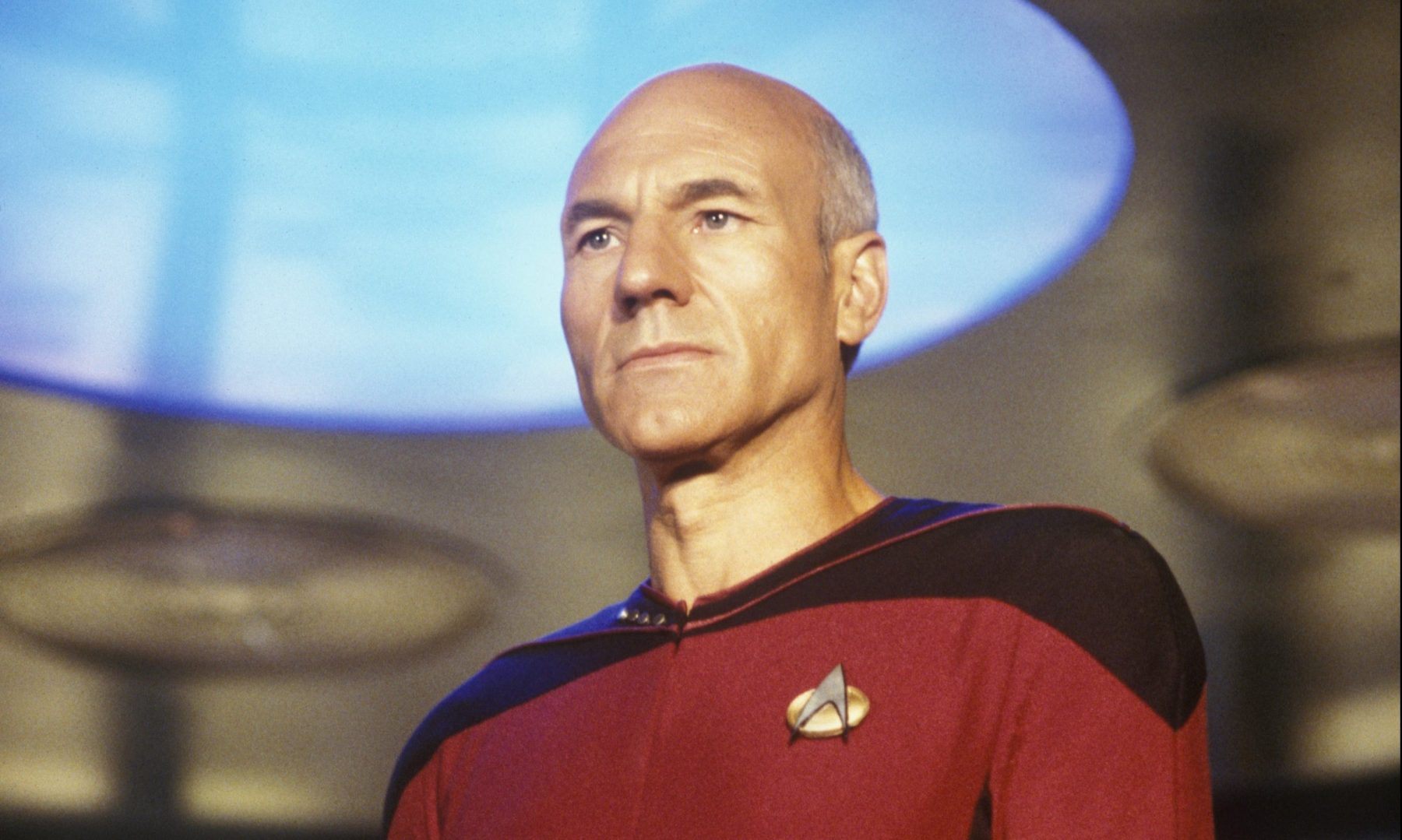 "Patrick Stewart, star of TV's ""Star Trek: The Next Generation,"" prepares to ""engage"" during filming at Paramount Studios in Hollywood, California in 1987. Stewart portrayed the heroic Captain Jean-Luc Picard  (Photo by George Rose/Getty Images)"