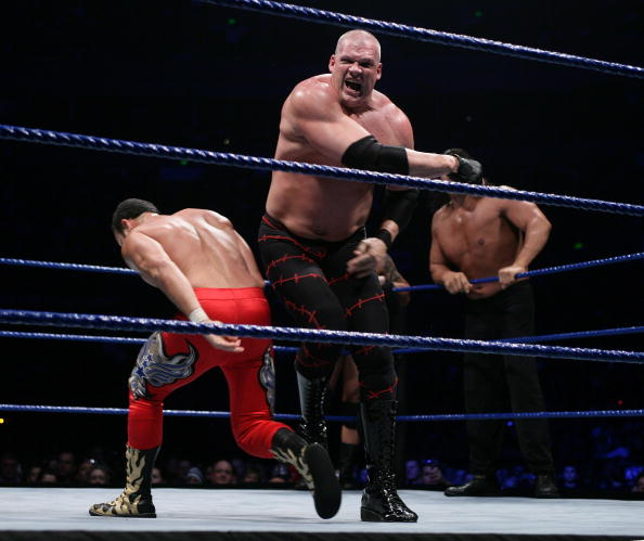SYDNEY, AUSTRALIA - JUNE 15:  Kane (R) takes on Chavo Guerrero, Jr. during the WWE Smackdown at Acer Arena June 15, 2008 in Sydney, Australia.  (Photo by Don Arnold/WireImage)