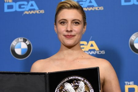 Director Greta Gerwig, recipient of the Nomination Medallion for Outstanding Directorial Achievement in Feature Film for 'Lady Bird', poses in the press room at the 2018 DGA Awards at the Beverly Hilton, on February 3, 2018, in Beverly Hills, California. (Photo credit should read ROBYN BECK/AFP/Getty Images)