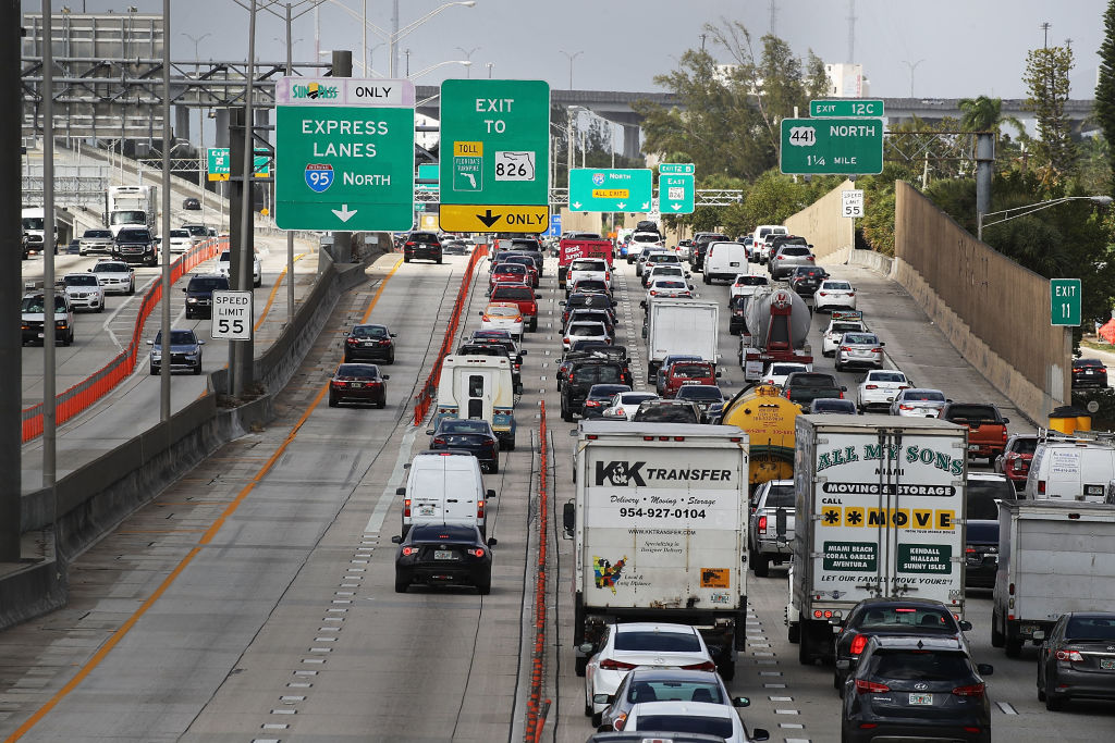 MIAMI, FL - FEBRUARY 12:  Heavy traffic is seen along I-95 on February 12, 2018 in Miami, Florida. President Donald Trump announced his infrastrucure proposal today in which he plans on investing at least $1.5 trillion on new projects, shorten permitting time to two years, invest in rural projects and improve worker training.  (Photo by Joe Raedle/Getty Images)