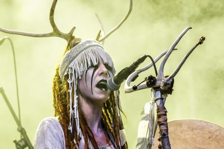 The Scandinavian alternative metal band Heilung performs a live concert at during the Norwegian metal festival Midgardsblot Festival 2017 in Borre. (Photo by: Gonzales Photo/PYMCA/Avalon/UIG via Getty Images)