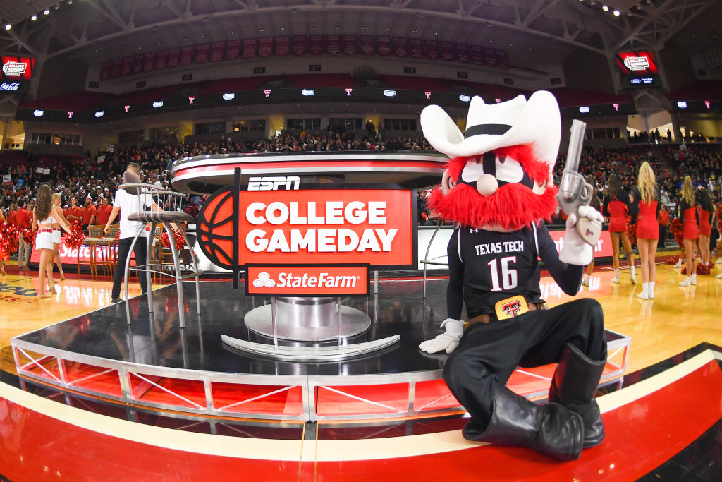 """LUBBOCK, TX - FEBRUARY 24: The Texas Tech Red Raiders mascot """"Raider Red"""" poses next to the stage during ESPN's College Game Day prior to the game between the Texas Tech Red Raiders and the Kansas Jayhawks on February 24, 2018 at United Supermarket Arena in Lubbock, Texas. (Photo by John Weast/Getty Images)"""