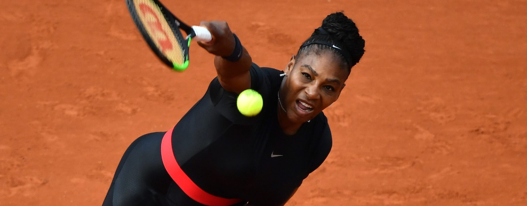 Serena Williams of the USA in action against Kristyna Pliskova (not seen) of Czech Republic during their first round match at the French Open tennis tournament at Roland Garros Stadium in Paris, France on May 29, 2018. (Photo by Mustafa Yalcin/Anadolu Agency/Getty Images)