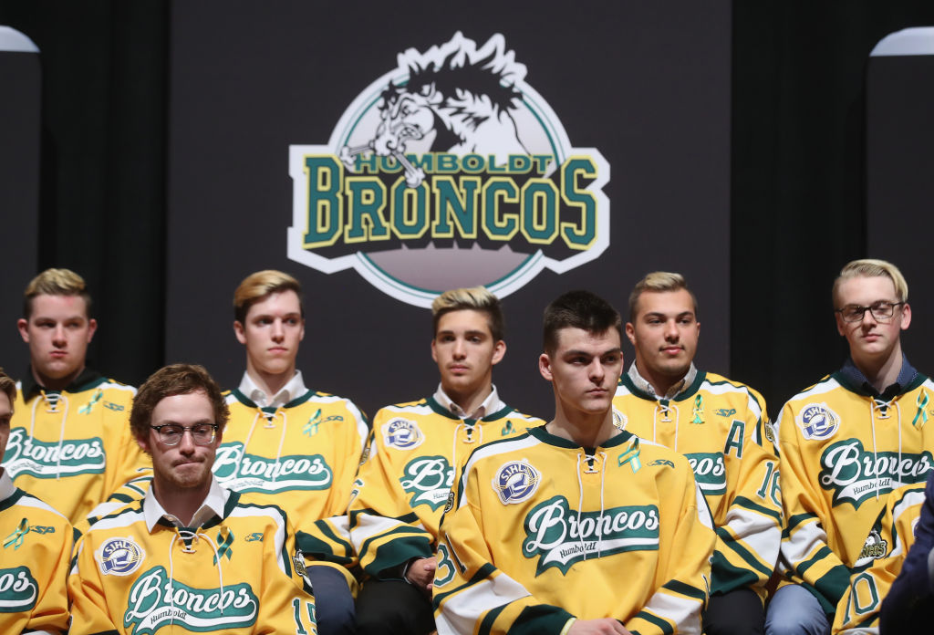 LAS VEGAS, NV - JUNE 19:  Members of the Humboldt Broncos hockey team attend a press conference prior to the 2018 NHL Awards at the Encore Las Vegas on June 19, 2018 in Las Vegas, Nevada.  (Photo by Bruce Bennett/Getty Images)