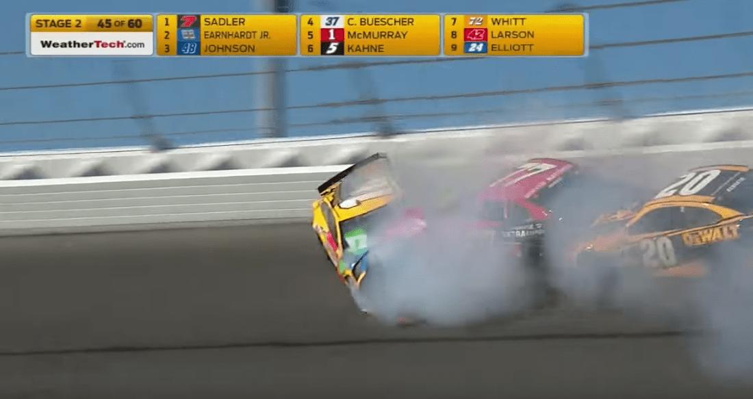 Dale Earnhardt Jr. crashes at the Daytona 500 in 2017. (Fox Sports/YouTube)
