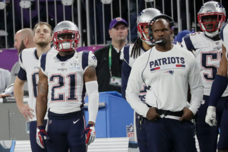 MINNEAPOLIS, MN - FEBRUARY 4: New England Patriots Malcolm Butler stands on sideline during 4th quarter of Super Bowl LII. The New England Patriots play the Philadelphia Eagles in Super Bowl LII at US Bank Stadium in Minneapolis on Feb. 4, 2018. (Photo by Barry Chin/The Boston Globe via Getty Images)