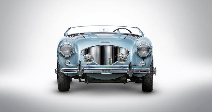 """The 1956 Austin-Healey 100M Factory """"Le Mans"""" Roadster that's crossing the block at the Zoute Sale on October 5. (Bonhams)"""