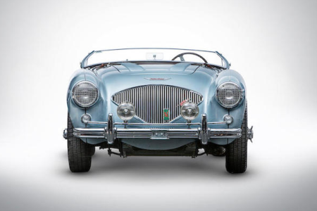 "The 1956 Austin-Healey 100M Factory ""Le Mans"" Roadster that's crossing the block at the Zoute Sale on October 5. (Bonhams)"